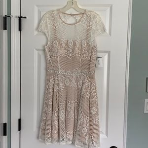 White and beige lace dress